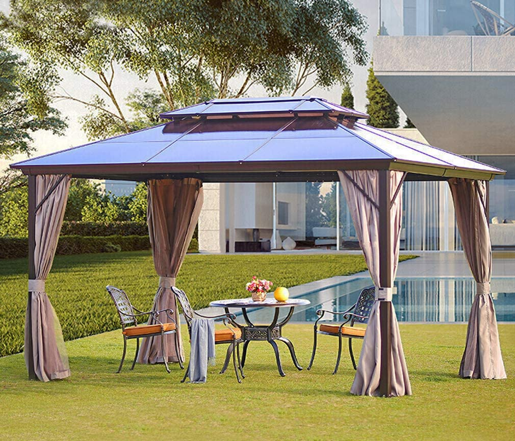 Amazon Com Yoleny 10 X13 Outdoor Polycarbonate Double Roof Hardtop Gazebo Canopy Curtains Aluminum Frame With Netting For Garden Patio Garden Outdoor