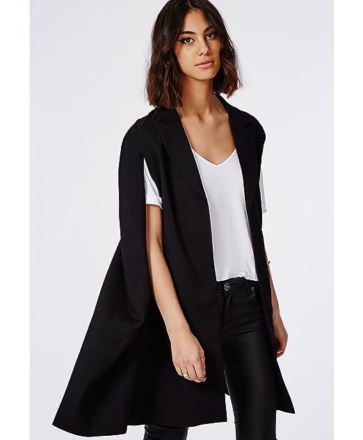 b134869581b Womens Cape Longline Cape Blazer Black - 4  Amazon.co.uk  Clothing