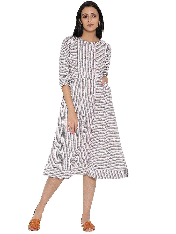 Jaipur Kurti Women s Straight Handloom Striped Cotton Dress  Amazon.in   Clothing   Accessories afcc5f084