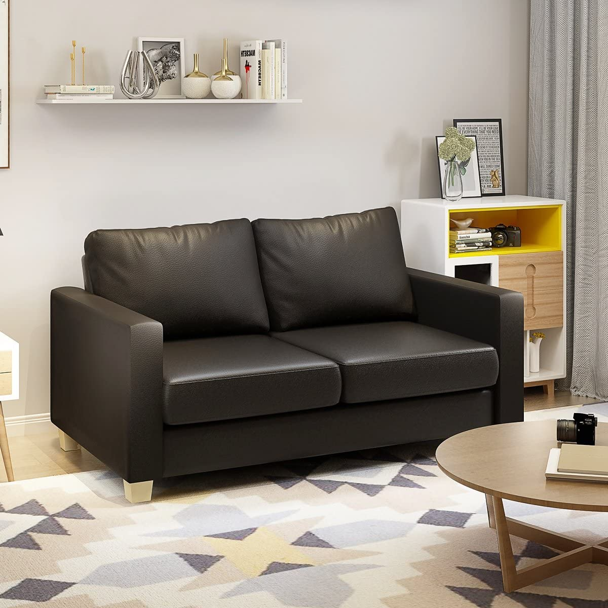 Modern Faux Leather 2 Seater Sofa Living Room Office