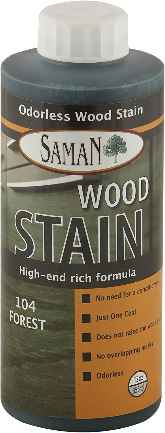 SamaN Interior Water Based Stain for Fine Wood, Forest, 12 oz