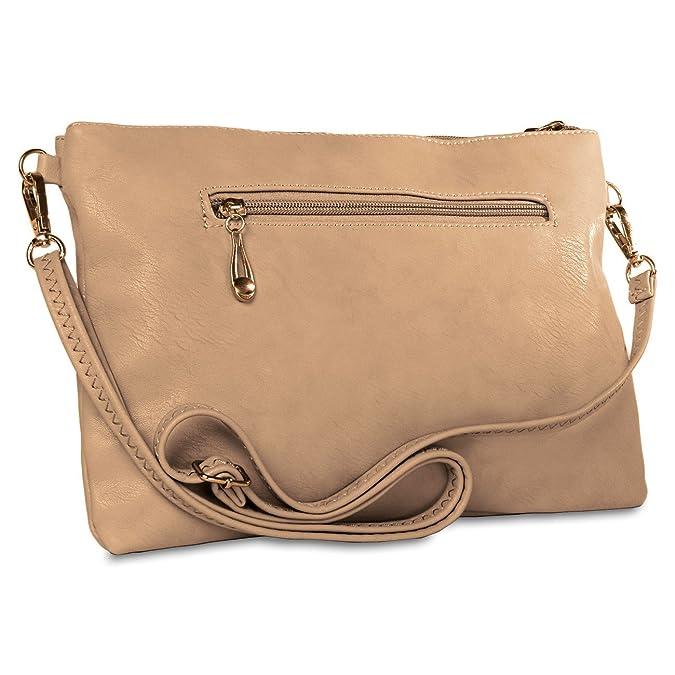CASPAR Damen Clutch / Abendtasche / Umhängetasche mit ausgefallenem trendy Knopf Dekor - viele Farben, Farbe:creme weiss CASPAR Fashion