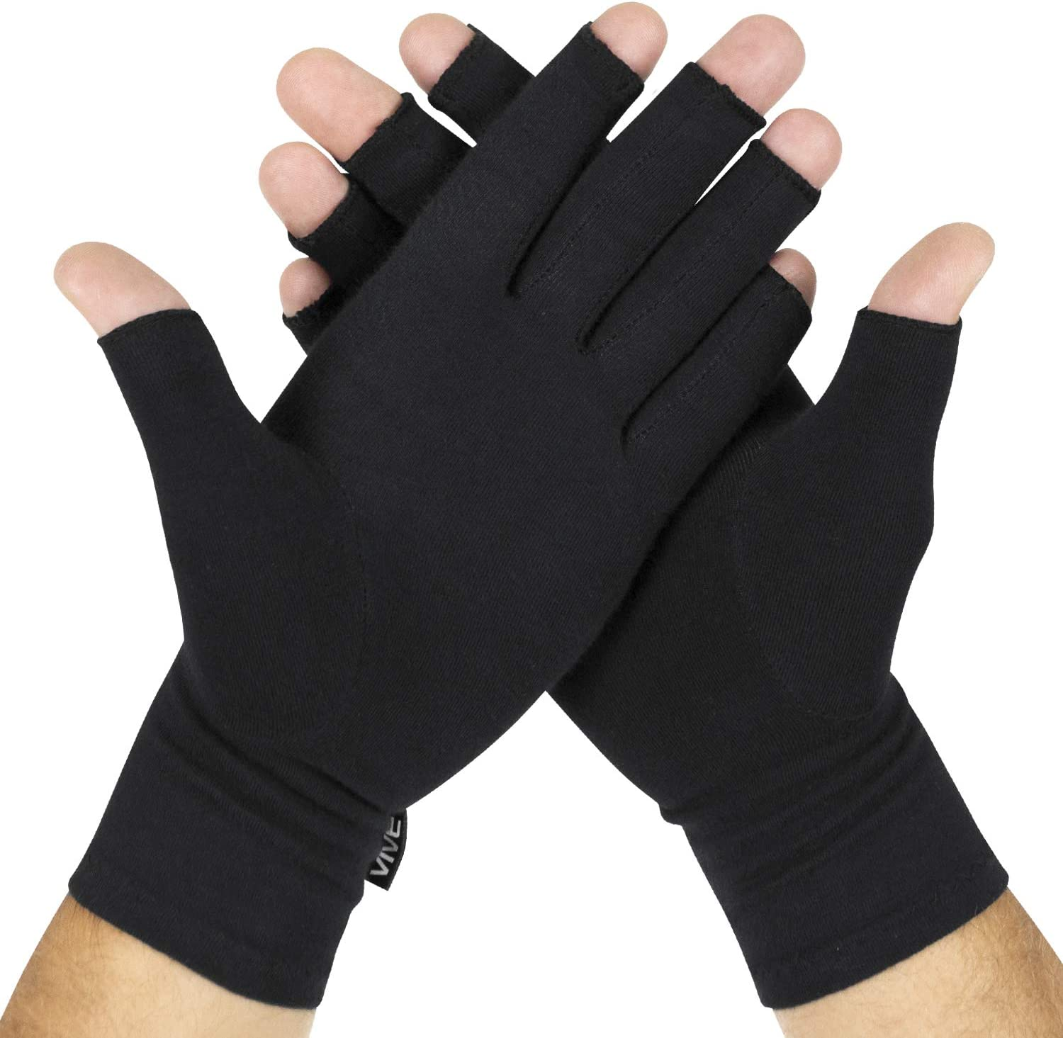 Vive Rheumatoid Arthritis Gloves - Men and Women Fingerless Compression Wrap for Hand Pain and Osteoarthritis - Black Hand Wrap for Arthritic Joint Symptom Relief - Open Finger Fit