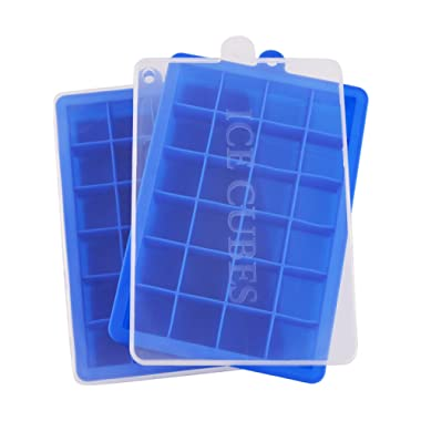 Ice Cube Trays,Guardians 24 Cube Food Grade Silicone Ice Tray Molds Easy Release Ice Jelly Pudding Maker Mold (Blue-2 Pack)