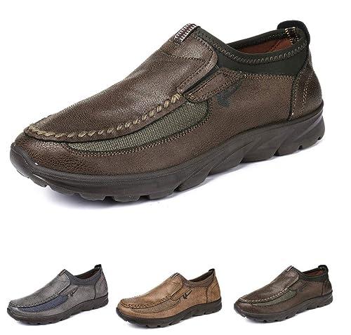 gracosy Herren Leder Freizeitschuhe Mokassin, Flache Loafers Schuhe Halbschuhe Boots Freizeitschuhe Outdoor Slip on Casual Sneakers für den Frühling