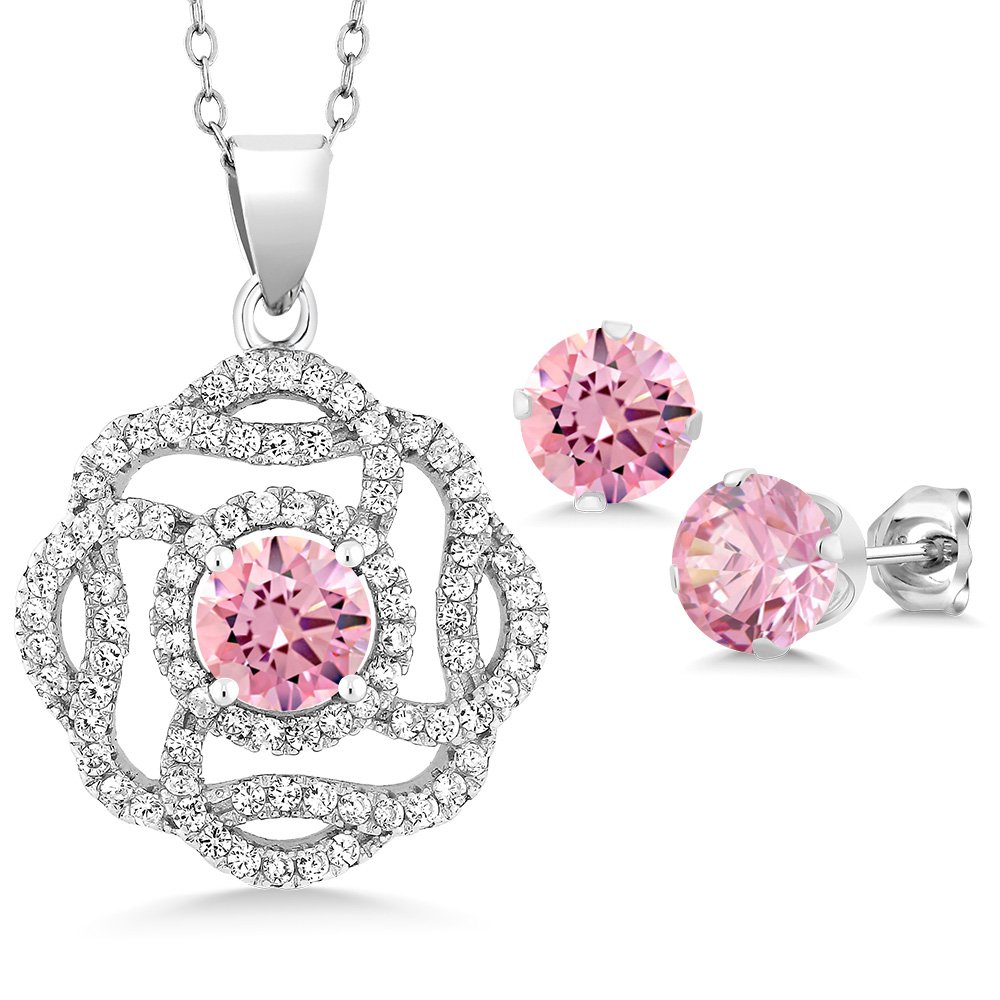 6.56 Ct Round Pink Zirconia 925 Sterling Silver Pendant Earrings Set