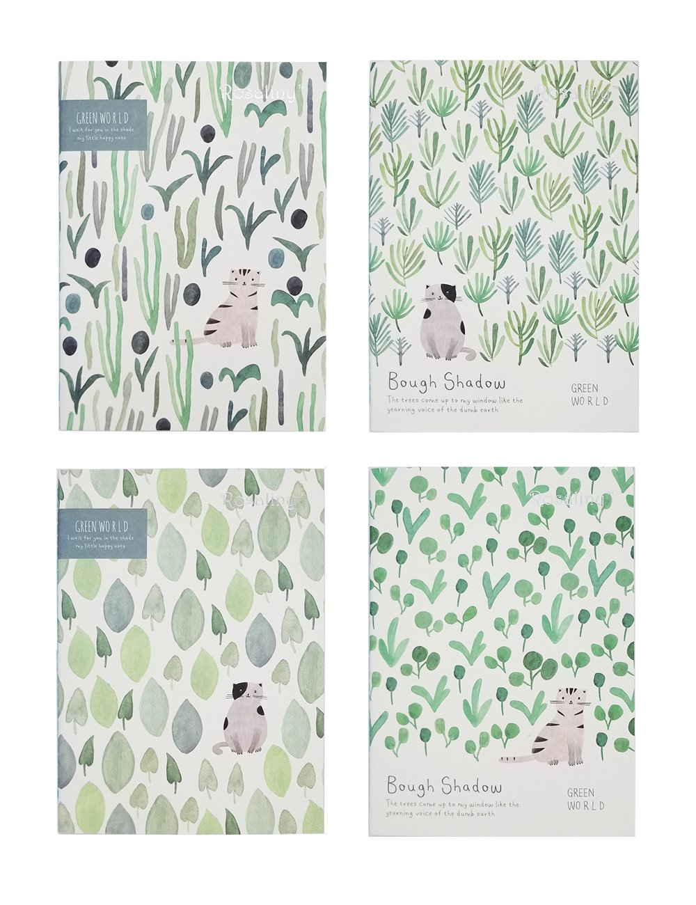 Rosaliny Green World 4 Assorted Softcover B5 Composition Notebook-College Ruled(Lined)