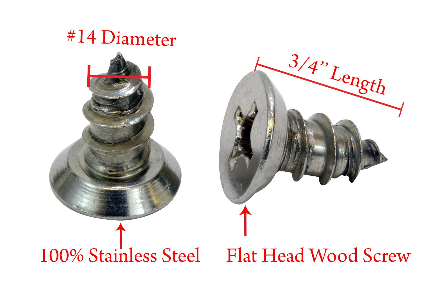 304 #8 x 1-1//2 Stainless Flat Head Phillips Wood Screw 100 pc by Bolt Dropper Stainless Steel Choose Size 18-8