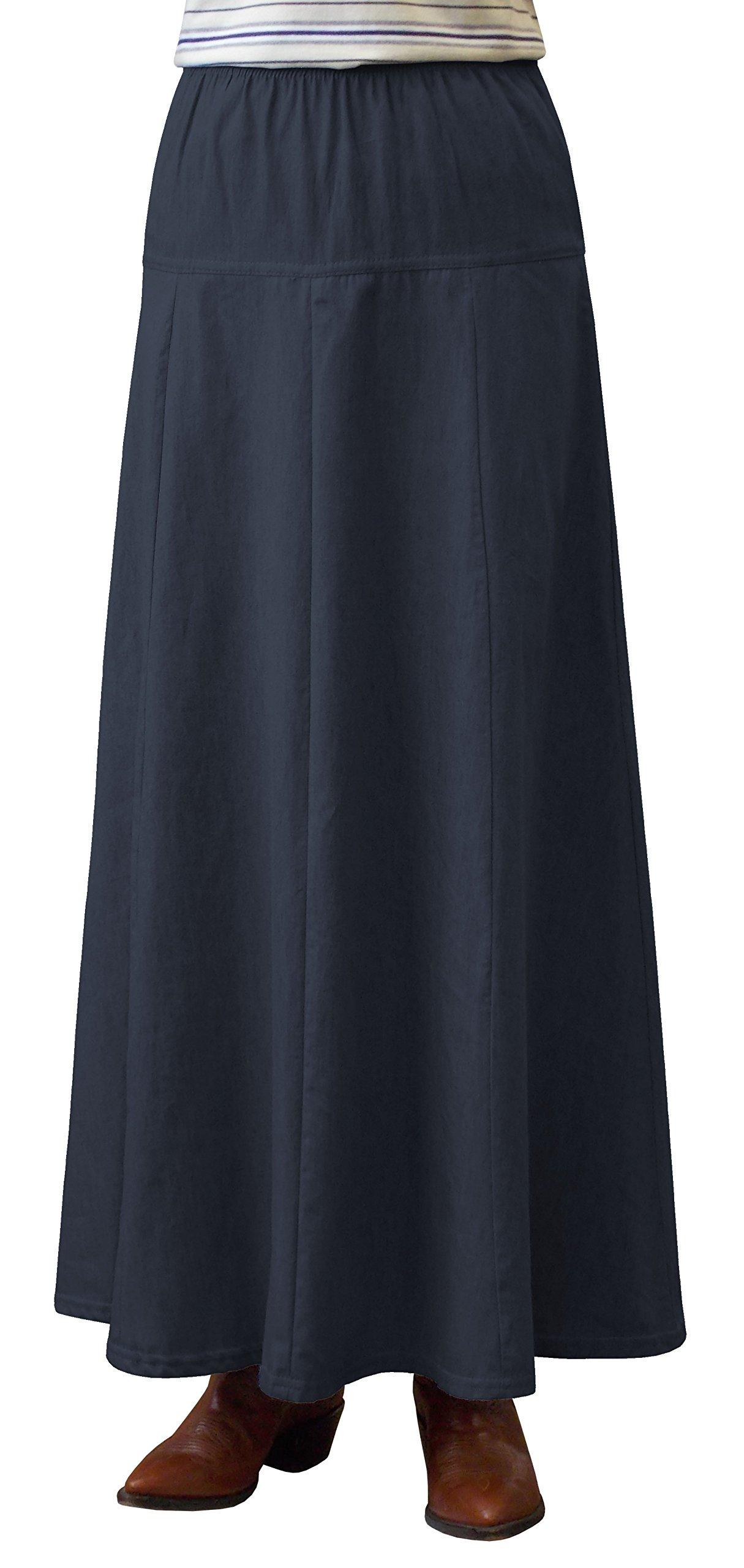 Womens Ultra Soft Lightweight Denim Fit and Flare A-Line Maxi Skirt - Blue Small
