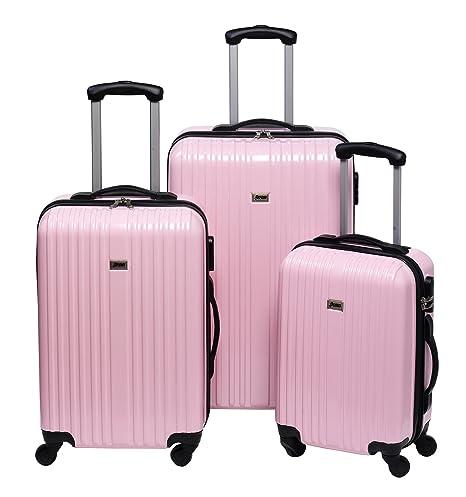 Penn Juego de Maletas con Ruedas, 3 Unidades, 165 litros, Color Rosa Pastel
