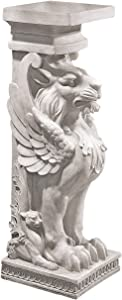 Design Toscano Trapezophoron Winged Lion Pedestal Column Plant Stand, ancient ivory