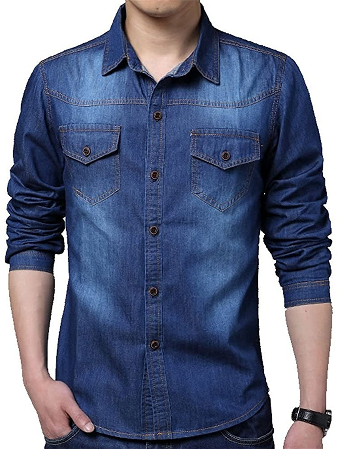 Brucest Mens Fashion Autumn Fashion Classic Long Sleeve Denim Shirt XS-2XL product of good quallty