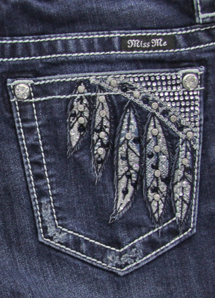 Miss Me Women's Feather Embellished Slim Boot Cut Denim Jean, Dark Blue, 30