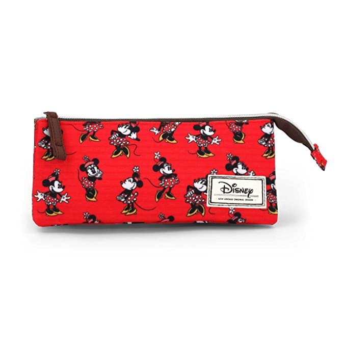 Disney Minnie Mouse Classic Minnie Estuche portatodo Triple, Color Rojo, 24 cm (Karactermanía 33587)