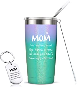 Mom Gifts - Birthday Mothers Gifts for Mom from Daughter Son Women - Mom You Don't Have Ugly Children - Funny Valentines Day Gifts for Mom Gift Ideas, 20 Ounce Mom Tumbler Mug Cup, Glitter Mermaid