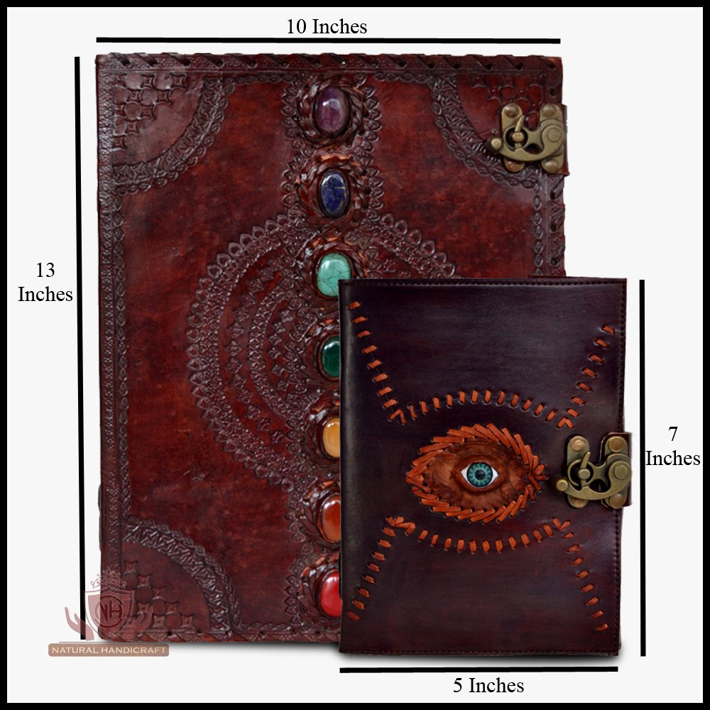 Leather Journal Seven Chakra Medieval Stone Embossed with Gods Eye Handmade Book of Shadows Notebook Office Diary College Book Poetry Book Sketch Book