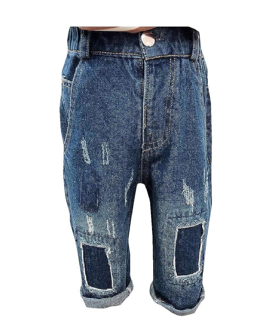 Lutratocro Boys Trousers Casual Patch Jeans Denim Pants