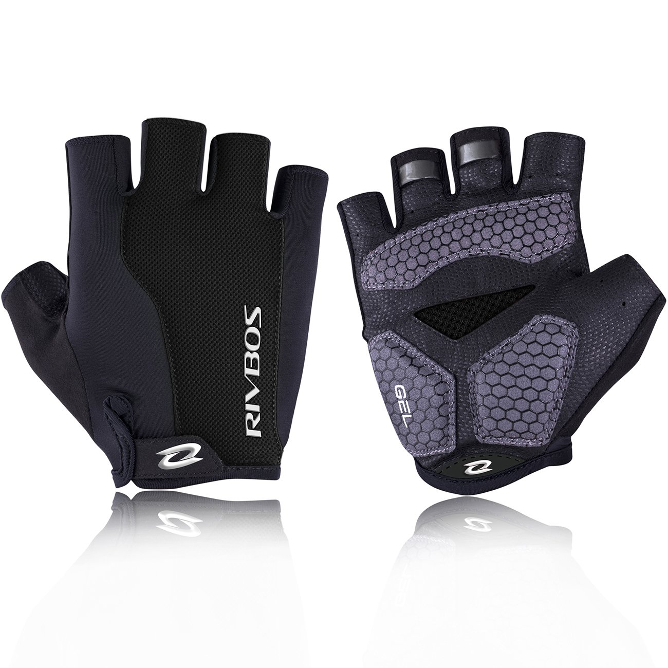 RIVBOS Bike Gloves Cycling Gloves Fingerless for Men Women with Foam Padding Breathable Mesh Fashion Design for Motorcycle Bicycle Mountain Riding Driving Sports Outdoors Exercise CHG001
