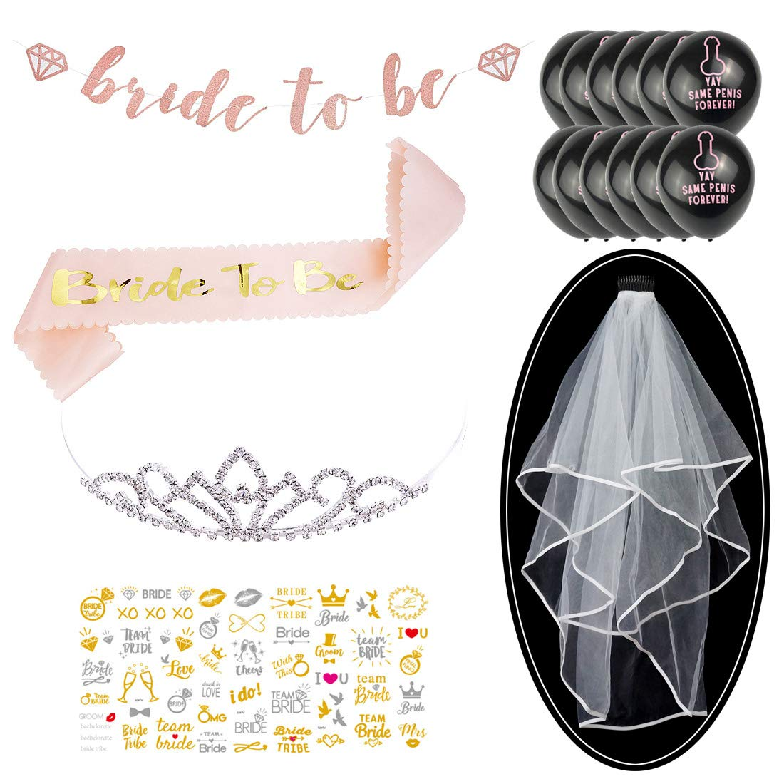 Rose Gold Bachelorette Bride to Be Sash, Bachelorette Veil and Tiara, Tattoos, Balloons, Bride to Be Banner for Bachelorette Party Supplies Bridal Shower Supplies by Partycheers