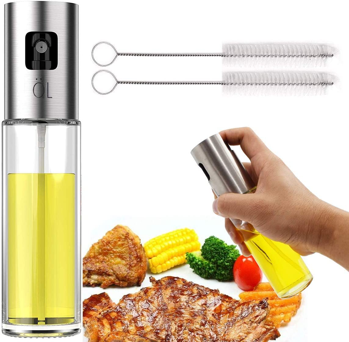 Vhabob Olive Oil Sprayer, Stainless Steel Refillable Oil Misters for Cooking, Oil Spritzer Dispenser Bottle with Food-grade Glass for BBQ, Making Salad, Baking, Roasting, Frying, Grilling