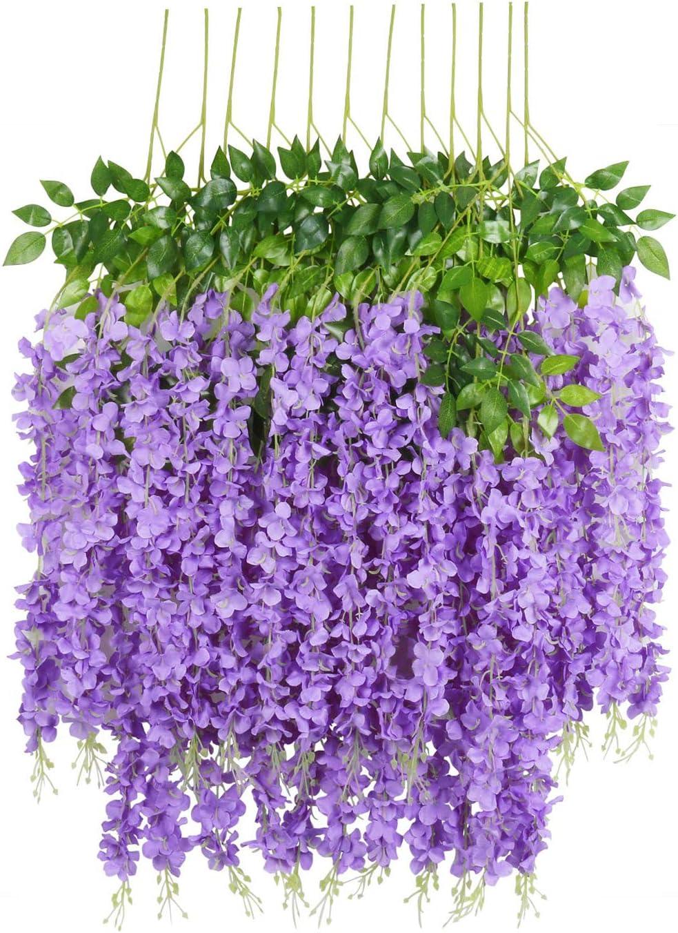 U'Artlines 12 Pack 3.6 Feet Artificial Fake Wisteria Vine Ratta Hanging Garland Silk Flowers String Home Party Wedding Decor (12, Purple)
