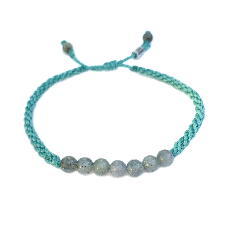 Labradorite Aqua Rope Beaded Beach Bracelet for Men and Women Handmade Drawstring Size Adjustable Sailor Knot Surfer Jewelry by Rumi Sumaq