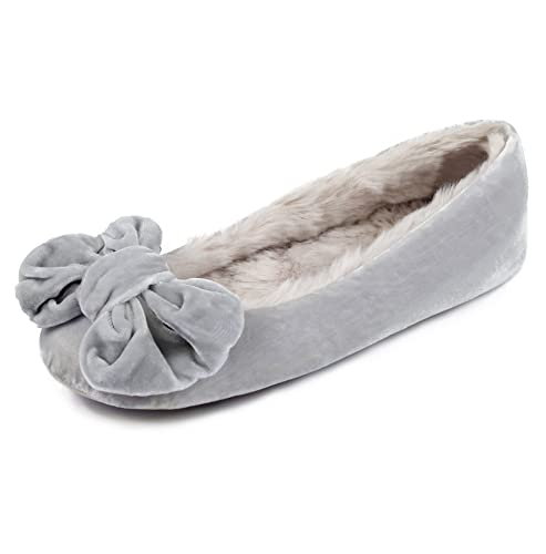 NEW Ladies Faux Suede Fur lined Boxed Ballet SLIPPERS UK Seller