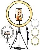 """ELEGIANT LED-ringljusstativ, 10,2 """"selfie-ringljusmakeup dimbar 3 ljusfärger + 11 ljusstyrkenivåer justerbar stativstång…"""