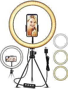 "ELEGIANT Anillo de Luz LED Fotografia 10.2"" de Escritorio, Aro de Luz con Trípode Control Remoto Inalámbrico 3 Colores, 11 Brillos Altura Regulable para Móvil Selfie Maquillaje Youtube TIK Tok Live"