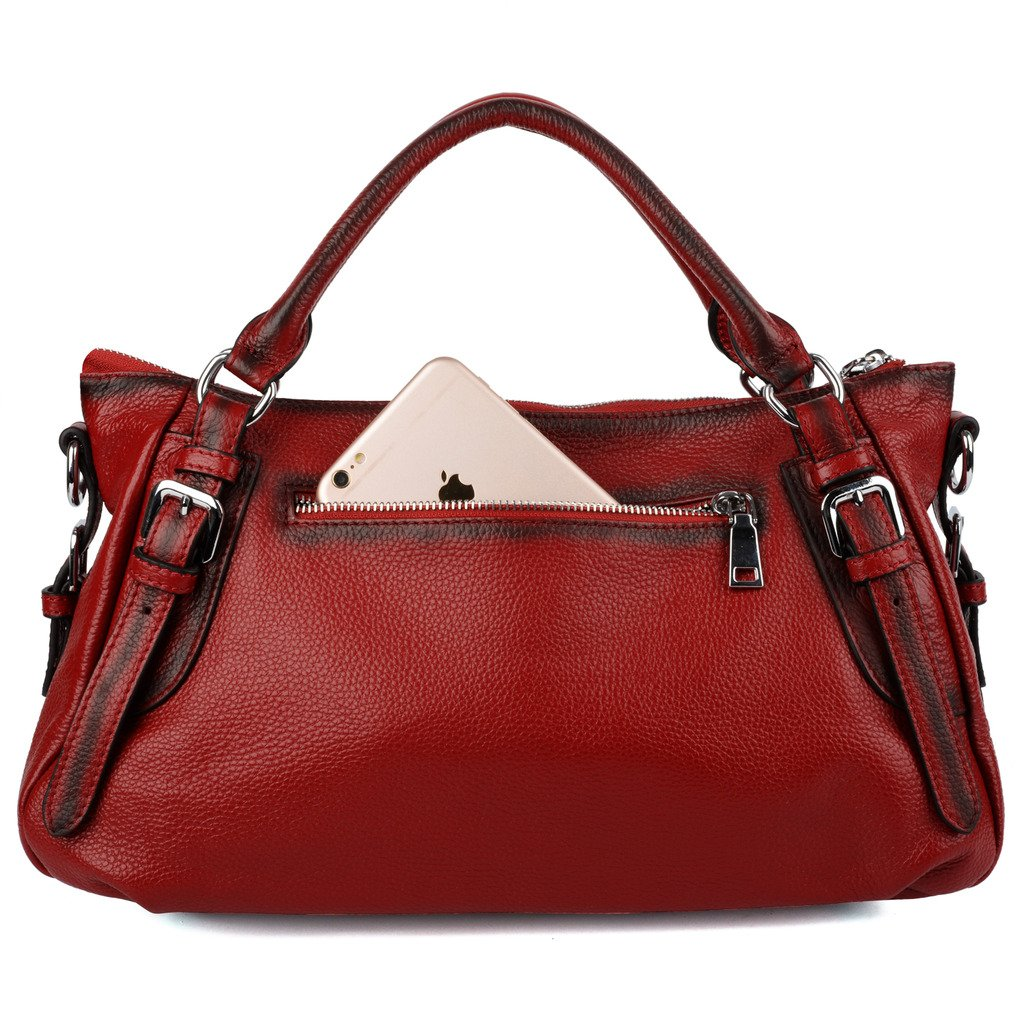 a610f4dff224 Amazon.com  YALUXE Women s Soft Real Leather Handy Hobo Style Handbag  (Upgraded 2.0) Red  Shoes