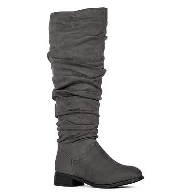 2459abffd1 Women's Slouchy Pull On Low Block Heel Knee High Boots (Medium Calf) Grey SU