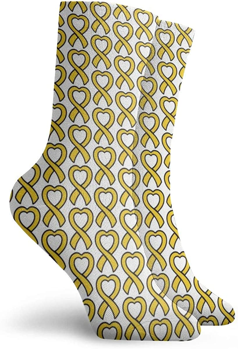 Personalized Crew Socks With Child Cancer Heart Gold Cancer Ribbon Print For Women Men