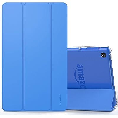 MoKo Nuevo Amazon Fire HD 8 2018 2017 Funda - Ultra Slim Ligero Plegable Smart Cover Case Trasera Transparente Durable/Sin Cierre Manética, Azul (Auto Sueño/Estela)