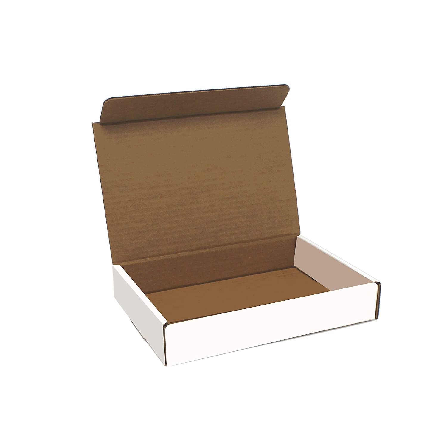 White Cardboard Shipping Box - Pack of 50, 9 x 6.5 x 1.75 Inches, White, Corrugated Box