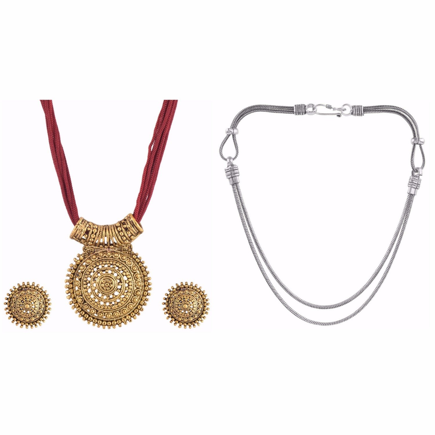 Efulgenz Indian Bollywood Traditional Heavy Bridal Designer Jewelry Necklace set in Antique 18K Gold Tone for Women and Girls (Combo 1)