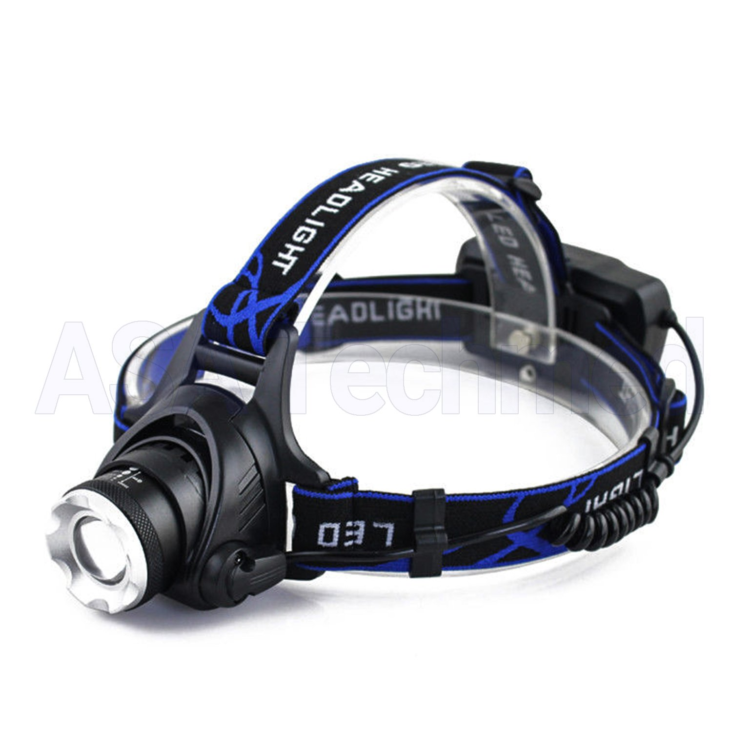 ASATechmed Tactical 30000LM Rechargeable T6 LED Headlamp 18650 Headlight Head Lamp Torch - Ideal for Camping, Hiking, First Responders, Extreme Rescue, Mechanics and Constructions.