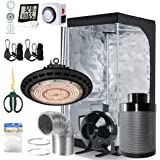 BloomGrow 600W Full Spetrum UFO LED Grow Light + 32''x32''x63'' Grow Tent + 4'' Fan Filter Duct Combo + Hangers…