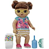 Baby Alive Step 'N Giggle Baby Brown Hair Doll with Light-Up Shoes, Responds with 25+ Sounds & Phrases, Drinks & Wets, Toy fo