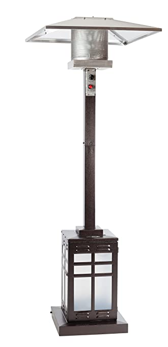 Fire Sense Square Hammered Illuminated Patio Heater, Bronze  Fire Sense Patio Heater