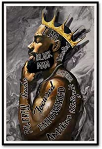 African American Wall Art Black King Men Canvas Poster Painting Decor, 16 X 24