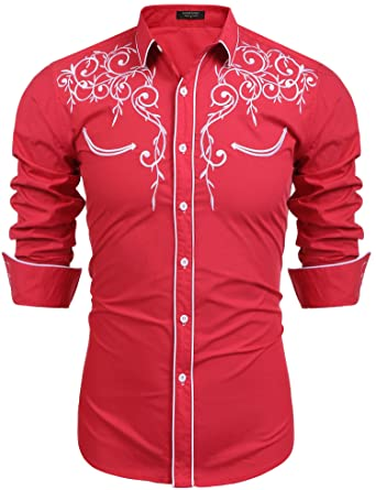 Coofandy Mens Long Sleeve Embroidered Shirt Slim Fit Casual Button