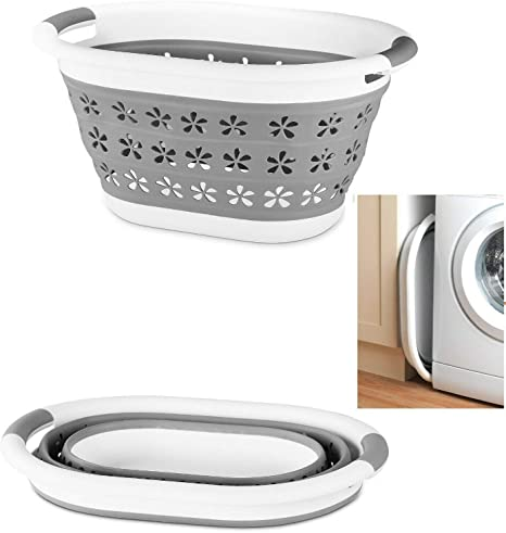 Blue /& Grey, Large 60cm Optimal Products Collapsible Laundry Basket Hamper Clothes Storage Washing Foldable Bin Hipster