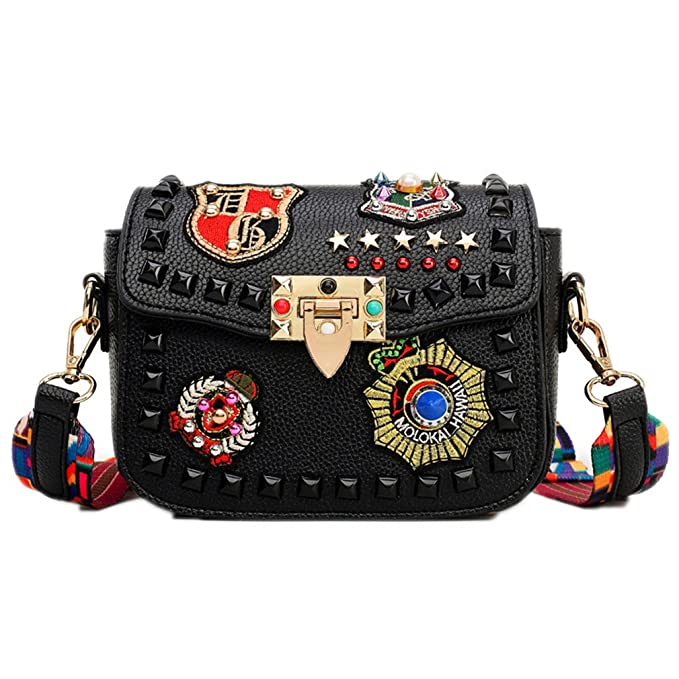 Amazon.com: ZJ&OS Fashion Color Rivet Women Pu Leather Bags Embroidery Metal Stars Shoulder Bags Black 2017 women bags: Sports & Outdoors