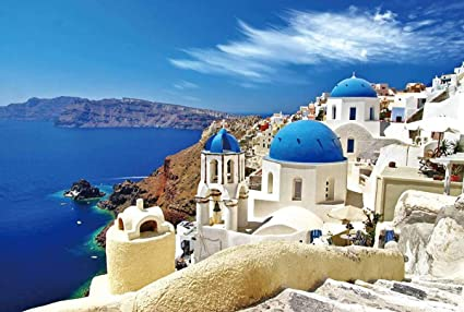 1000 Pieces Jigsaw Puzzles Aegean Village Puzzles for Adults Teens DIY Stress Relief Family Puzzles Gifts