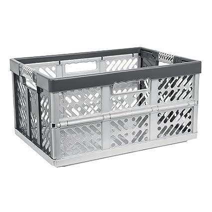 3 x profesional Caja Plegable, 45 L Caja de plástico – Caja cesta de la