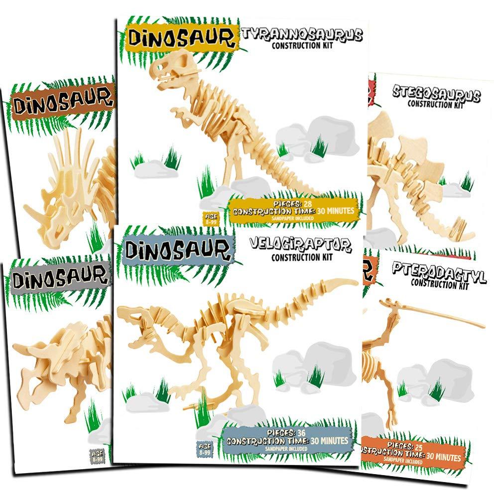 Professor Puzzle Dinosaur Building Kits for Kids Super Set -- 6 Dinosaur Wooden 3D Skeleton Puzzles (Wood Craft Model Kits for Kids)