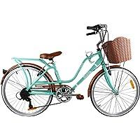 Paseo Bicicleta con PORTABULTOS Y REFLEJANTE Trasero Modelo Loving RODADA 24 6 VELOCIDADES (Aqua)