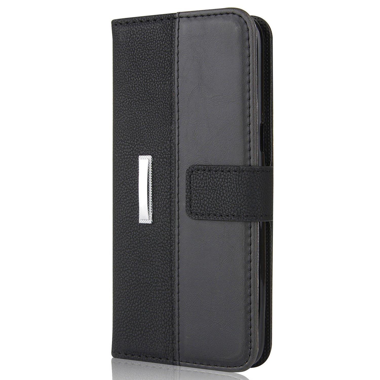 LAPOPNUT Coque Samsung Galaxy S7 Edge 5.5, Luxe Rétro Hybride Housse Cuir Magnétique Flip Portefeuille, 360 Protection Intégrale Support pour Galaxy S7 Edge - -Noir ALIBAO