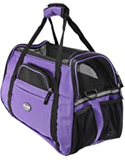 ZOIC Pet Dog Cat Travel Carrier Outdoor Crate Tote Comfort Airline Approved Travel Soft Side Bag Should Bag Handbag L Size 48 * 25.5 * 33CM(Purple)