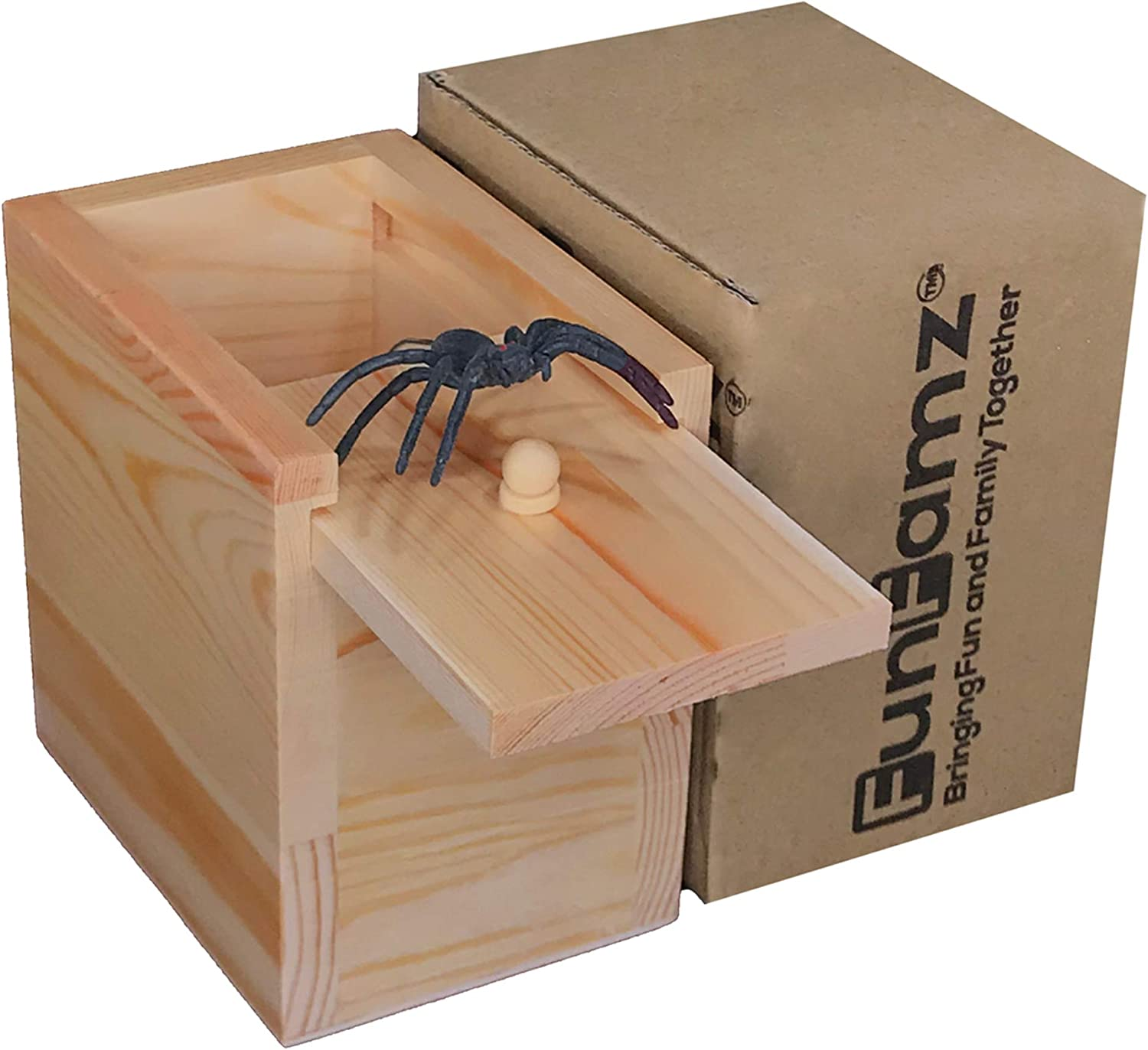FunFamz The Original Spider Prank Box- Funny Wooden Box Toy Prank, Hilarious Halloween Money Gift Box Surprise Toy and Gag Gift Practical Joke Bromas Kit